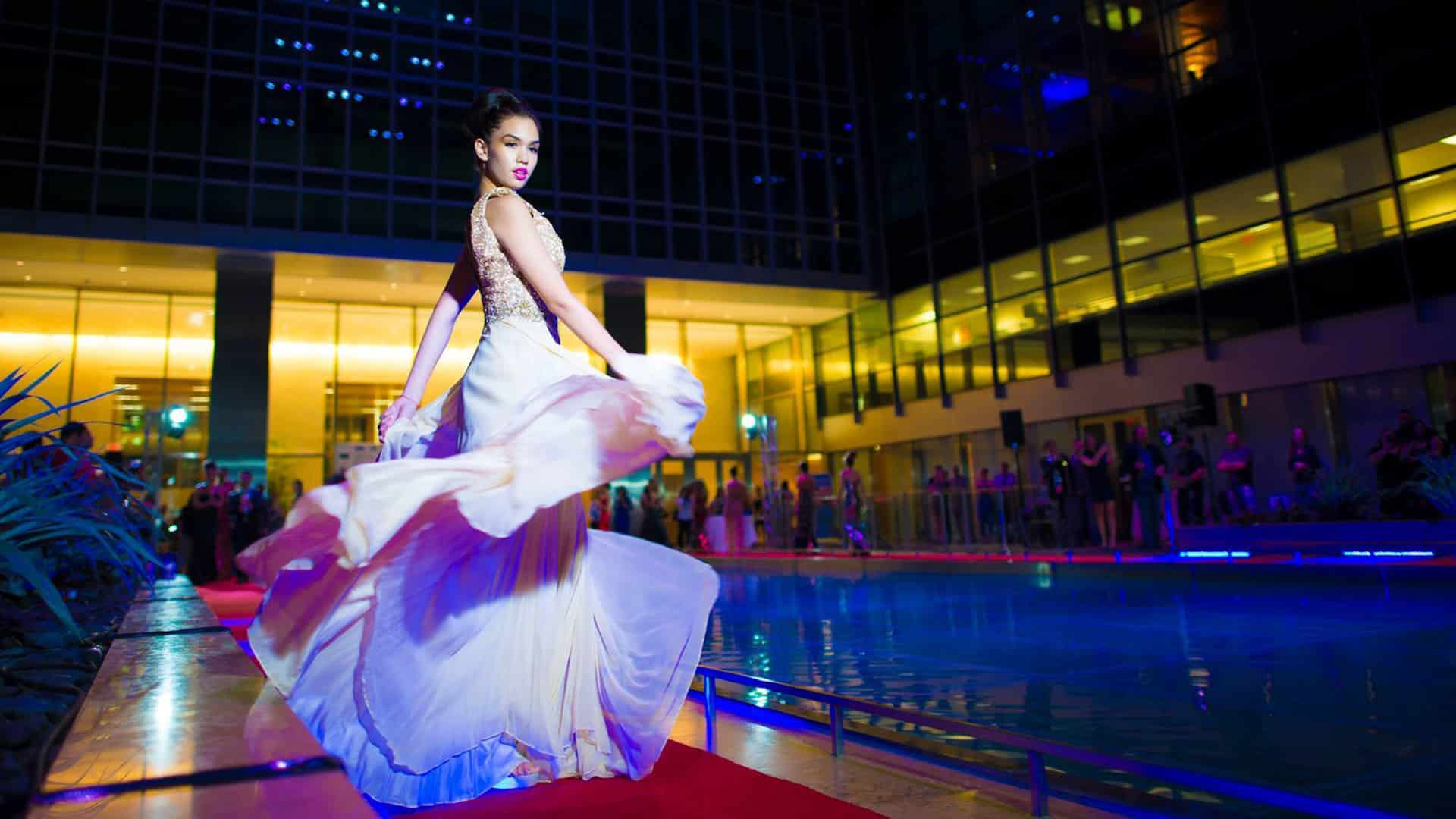 Model on the runway at the 2015 Fashion Night on Brickell