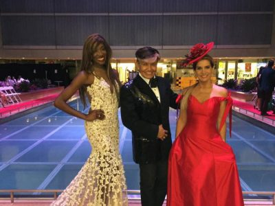 2016 Fashion Night on Brickell, Mayra Joli with Oscar Romero and Sandra Coscio